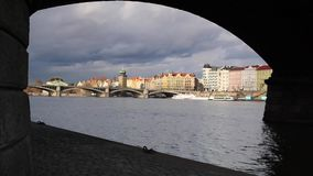 View on the Prague under the bridge. stock footage