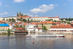 View of Prague and the Vltava from the bridge Karluv most Royalty Free Stock Photography