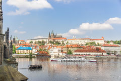 View of Prague and the Vltava from the bridge Karluv most Stock Image