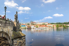 View of Prague and the Vltava from the bridge Karluv most Stock Images