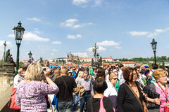 View of Prague and the Vltava from the bridge Karluv most Royalty Free Stock Image