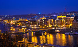 View on Prague and Vltava river. At night Royalty Free Stock Images