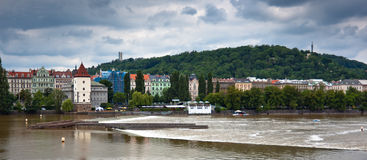 View of Prague and Vltava River Stock Image