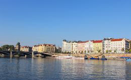 View of Prague from the Vltava River on bright, sunny summer day. City landscape of Prague buildings Royalty Free Stock Photography