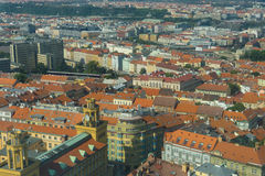 View of Prague from Zizkow Television Tower Royalty Free Stock Images
