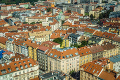 View of Prague from Zizkow Television Tower Stock Image