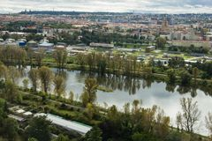 View of Prague from the Prague zoo. royalty free stock image