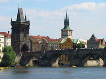 View of Pragues towers, castle and Charles bridge Royalty Free Stock Images
