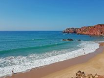 View on Praia Amado on the westcoast in the Algarve Portugal stock image