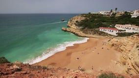 A view of a Praia de Benagil in Algarve region, Portugal, Europe stock video footage