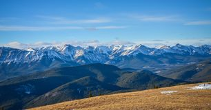 View from Prairie Mountain, Alberta. The View of Kananaskis Mountains and Foothills from Prairie Mountain near Bragg Creek, and Calgary, Alberta, Canada Stock Photo