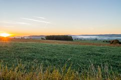 View of the prairies of Gaume at sunrise Royalty Free Stock Photo