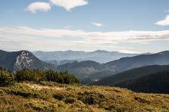 View from Prasiva hill above Demanovska dolina valley in Nizke Tatry mountains in Slovakia royalty free stock photography