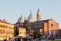 View of Prato della Valle and Basilica of S.Giustina in Padua Stock Images