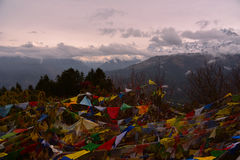 View of the prayer flag and Annapurna range in Poon Hill, Nepal Stock Images