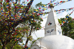View of prayer flag and Stupa in Nepal Stock Image