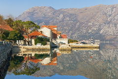View of Prcanj town. Bay of Kotor, Montenegro Stock Photography