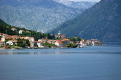 View of Prcanj. View of the village of Prcanj (Montenegro) from the opposite bank Royalty Free Stock Photos