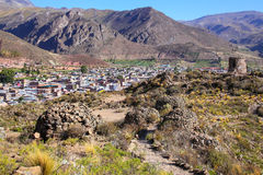 View of pre-Incan ruins and Chivay town in Peru royalty free stock image