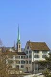 View with Predigerkirche tower, Zurich, Switzerland Stock Photos