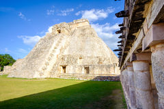 View of prehistoric Mayan Uxmal pyramid in Mexico Royalty Free Stock Images
