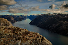 View from Preikestolen Lysefjorden, Stavanger, Norway Royalty Free Stock Photography
