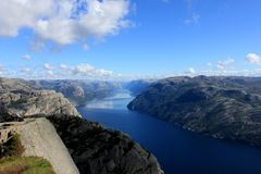 View from Preikestolen pulpit rock, Lysefjord in the background, Rogaland county, Norway.  Stock Photography