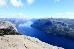 View from Preikestolen pulpit rock, Lysefjord in the background, Rogaland county, Norway.  Stock Image