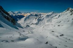 View from Presset refuge. At night when there is snow in the mountains Royalty Free Stock Photo