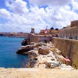 View of a pretty little port of Valletta, Malta Royalty Free Stock Photo