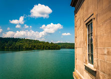 View of Prettyboy Reservoir from Prettyboy Dam, in Baltimore Cou Royalty Free Stock Photo