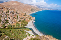 View of Preveli beach and lagoon on the Crete island, Greece. Stock Image