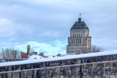 View of the Price Building Edifice Price from the Quebec City Ramparts Royalty Free Stock Image