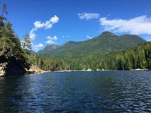 View of Prideaux Haven, in Desolation Sound, British Columbia, C. Anada anchored in a beautiful remote location stock images
