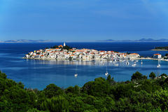View of Primosten, Croatia. Dalmatian coast.  royalty free stock photos
