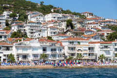 View of Princes Islands of Kinaliada hillside with luxury residential housing on coast, Turkey Royalty Free Stock Images
