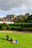 View from Princes Street Gardens to the old town of Edinburgh Stock Photography