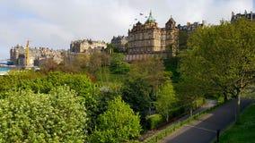 View on Princes Street Gradens in Edinburgh.  Royalty Free Stock Photography