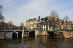 View of Prinsengracht canal in Amsterdam on the intersection with Leidsegracht canal Royalty Free Stock Image