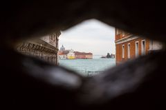 View from the prison of Doges Palace  in Venice, Stock Photo