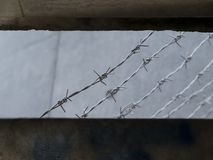 View from a prison window. barbed wire. View from a prison style window with barbed wires Royalty Free Stock Photo
