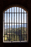View from prison window. Landscape viewed from the window of a prison Stock Photo