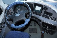 View of professional driver`s cab. In modern bus stock images