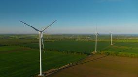 View of progressive wind turbines generating environmental friendly electricity.