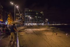 View of the promenade in the city of Las Palmas in Gran Canaria. At night royalty free stock photos