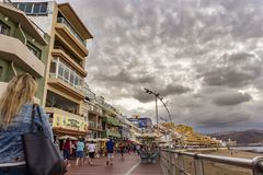 View of the promenade in the city of Las Palmas in Gran Canaria. On a cloudy day royalty free stock image
