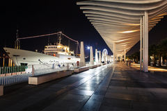 View of the promenade of Muelleuno, in Malaga city during the night. Stock Photos
