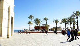 View of the promenade in the Olympic Village of Barcelona Royalty Free Stock Photography