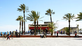 View of the promenade in the Olympic Village of Barcelona Stock Photos