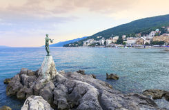 View from the Promenade of Opatija in Istria at evening,Croatia. Seascape in Opatija in Croatia Stock Photography